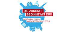 """Logo Europäischer Protesttag 2019 mit Schriftzug """"Die Zukunft beginnt mit Dir! Gemeinsam für ein barrierefreies Bielefeld"""""""